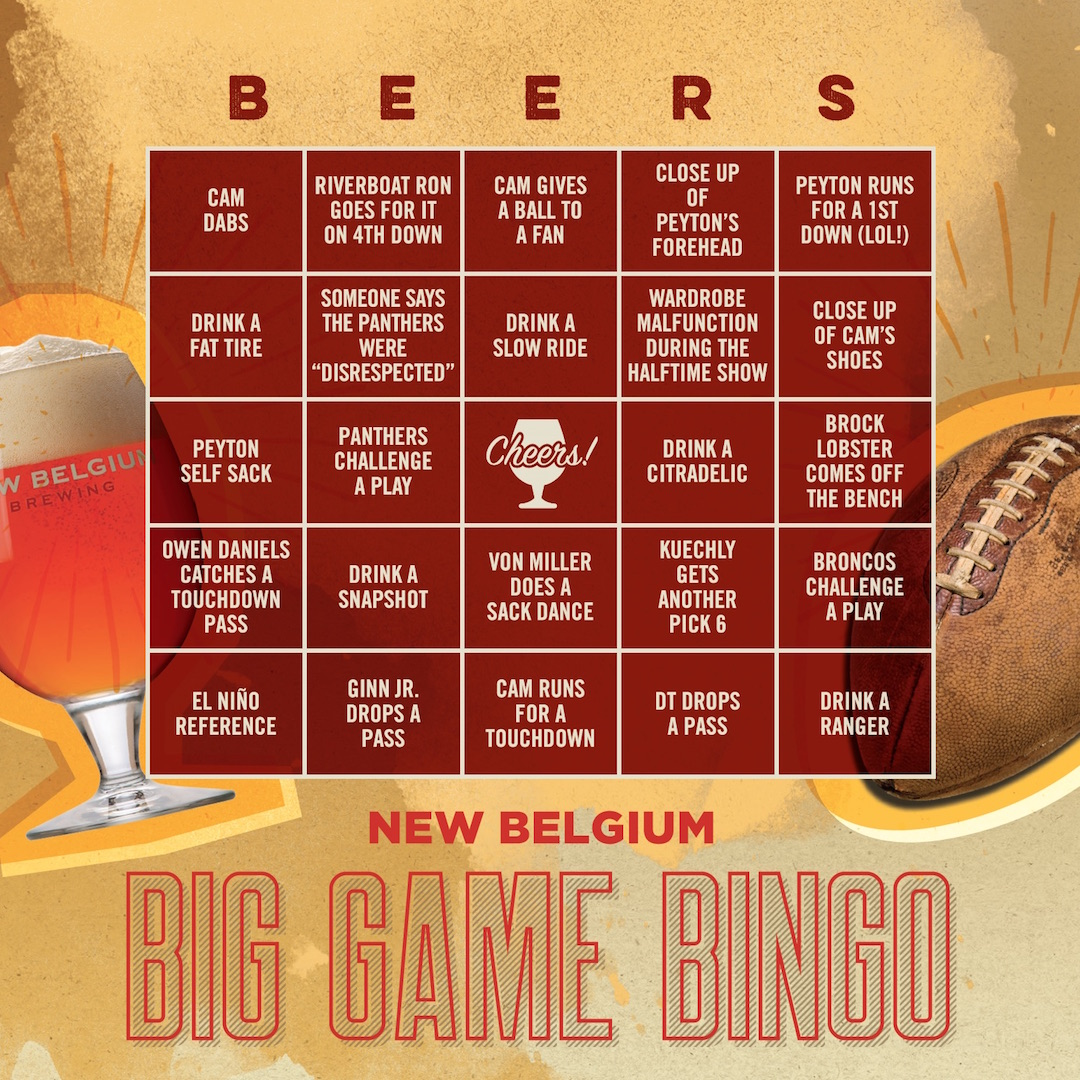 Play This The New Belgium Big Game Bingo Game New Belgium Brewing